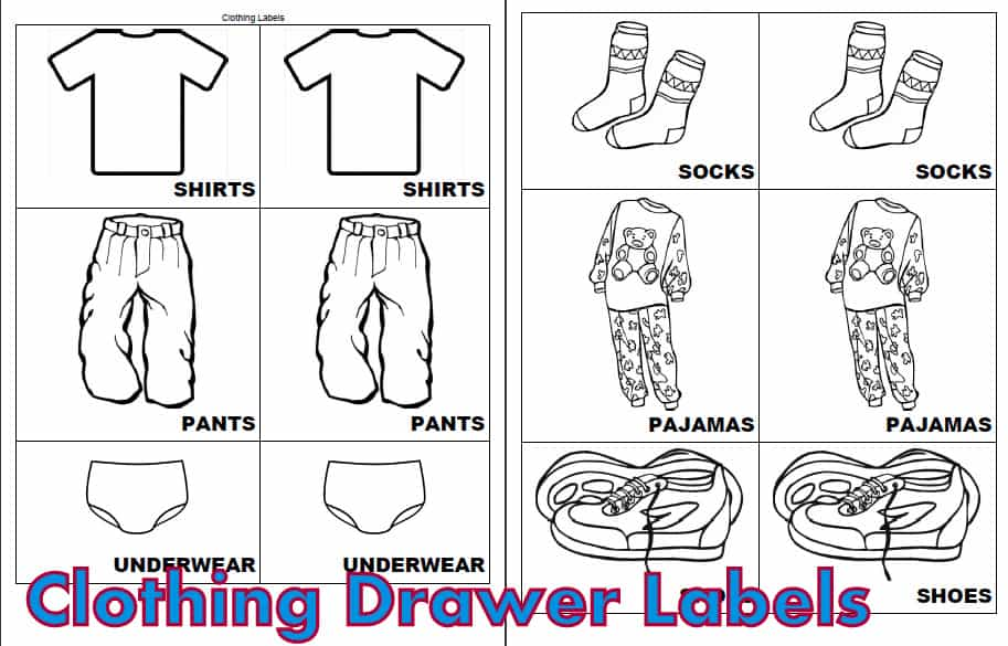 graphic regarding Printable Clothes named Little ones Clothes Drawer Labels