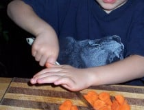 James cutting carrots