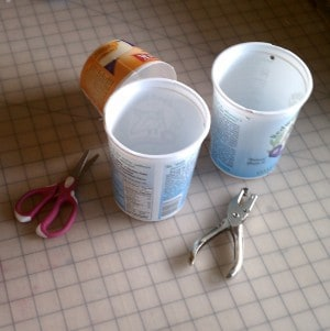 Supplies to make a yogurt container bucket - easy recycle!