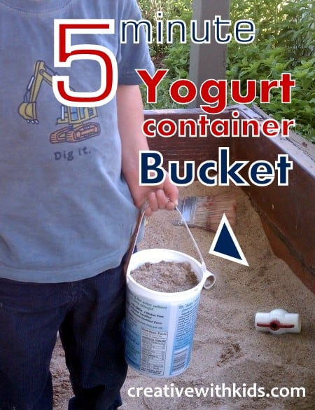 Yogurt Container Buckets - reuse those yogurt containers for summer fun!