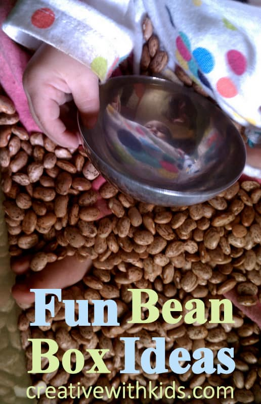 Sensory Activites to do in the bean box - good for calming a child