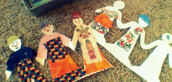 Making scrappy paper dolls with kids