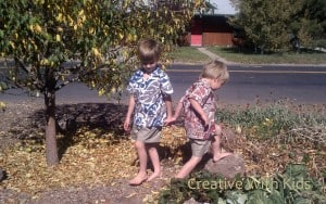 Kids searching for leaves