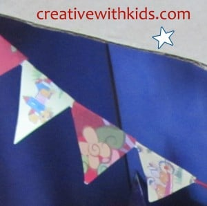 Miniature paper party bunting