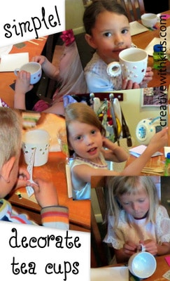 How to have a tea party for moms AND kids- decorating tea cups with stickers