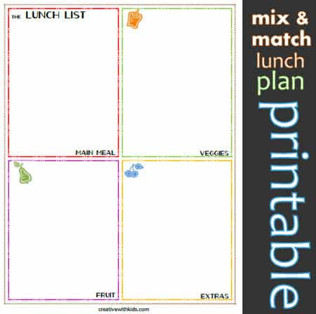 Lunch meal plan- Write ideas and then pack one food from each square.