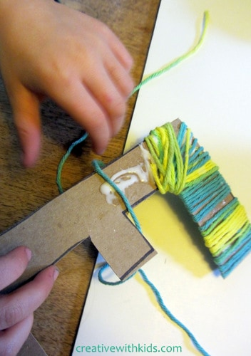yarn wrapped letters - kids craft