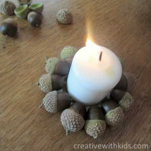 acorn craft project - candle holders