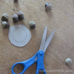acorn craft project - cutting out cardboard