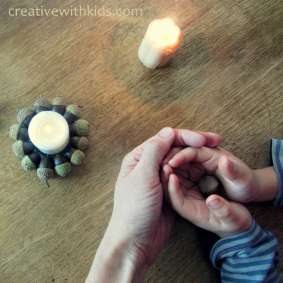 acorn craft project - autumn light candle holders