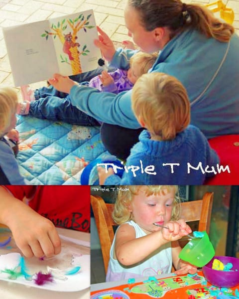 Advice from a mom of a twin 3.5 year olds and a toddler, on how to do activities with toddlers in the mix.