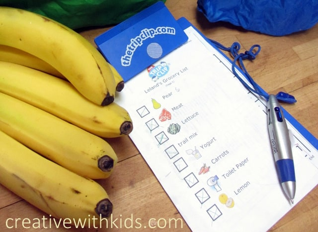 Make kids lists - tips on making grocery shopping with kids easier