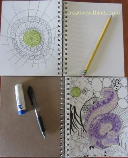Art Journal with Kids Prompts - collage and zen doodle