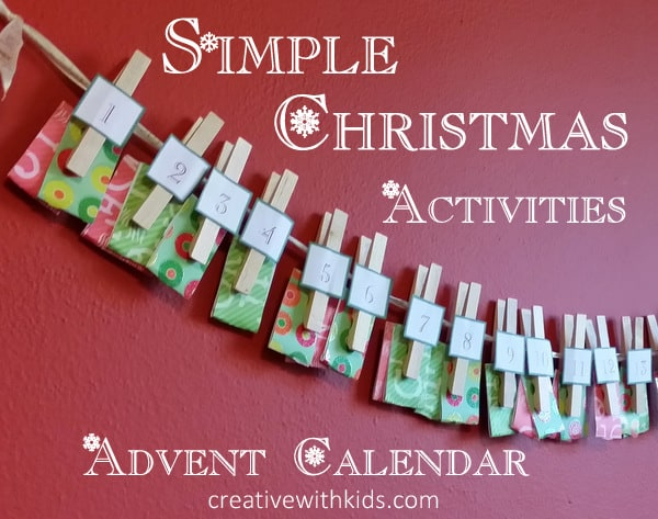 Cute and simple DIY advent calendar with holiday activities