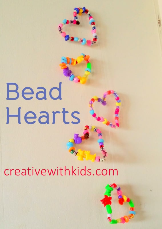 Pipecleaner bead hearts - preschooler project
