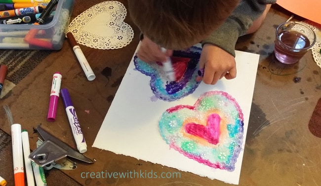 coloring heart doilies