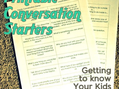 Family Conversation Starters – Getting to know your kids