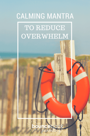 Life Preserver Haning by Beach - Text Says Calming Mantra to Reduce Overwhelm