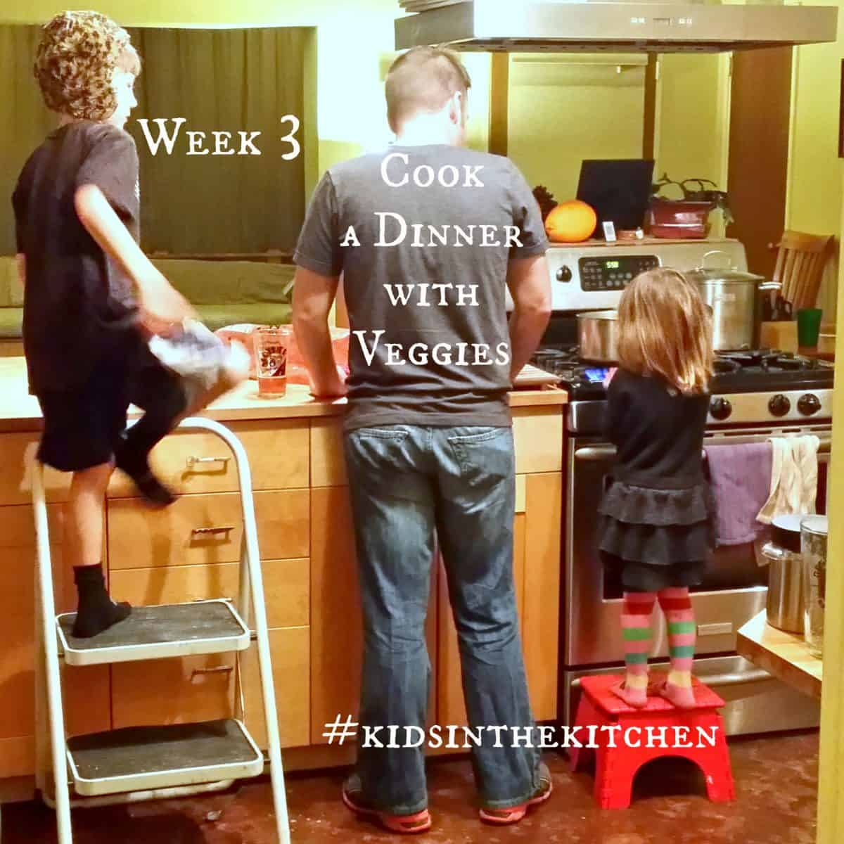 Cooking together - kids in the kitchen Veggies Week