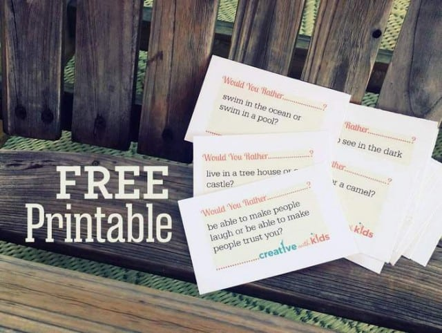 Download Free Printable of Would You Rather Cards