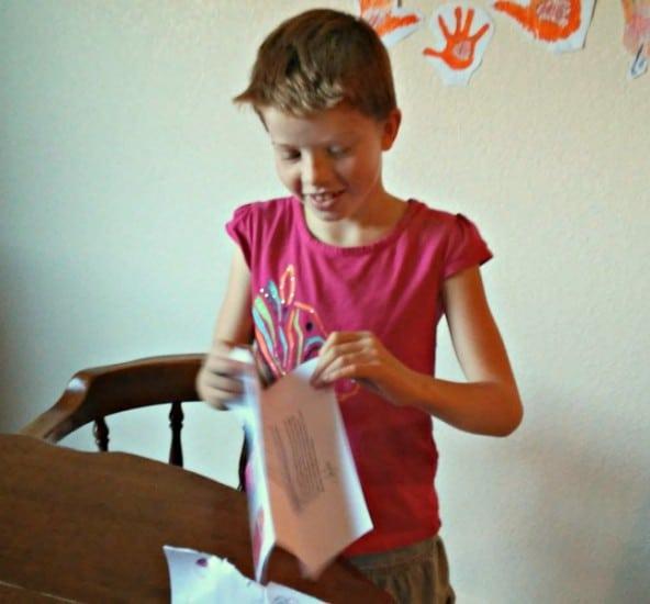 Opening her Santa letter