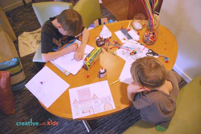 Coloring Paper Houses from winter printable packet at Hyatt House