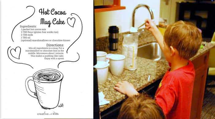 Hot Cocoa Mug Cake Recipe in the Winter Printable Pages from CWK