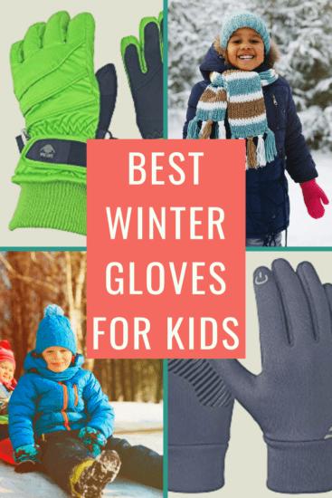 Neaer Kids Leather Fur Childrens Winter Warm Gloves for Boys Girls Gloves Thick Gloves
